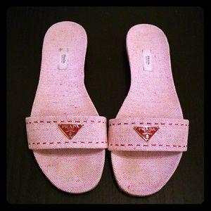 Prada Red Cream Canvas Twill Sandals